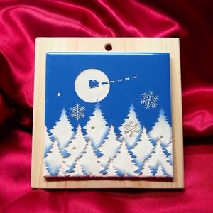 壁掛けタイル「クリスマス~もみの木の森・猫」