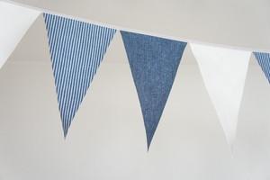 布ガーランド フラッグ 旗 結婚式 パーティー キャンプ 店舗装飾 飾り デニム紺