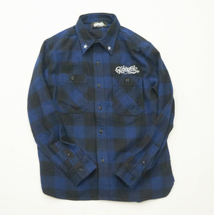 RAKUGAKI Work Check Nell Shirts (BLUE CHECK)