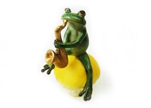 カエルオブジェ キノコ乗り蛙ミュージシャン サックス  ed10986c-1711