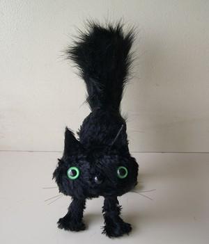 Surprised cat BK (S) ビックリ猫 (黒猫ぬいぐるみ)受注制作