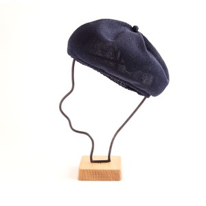 mature ha./beret top gather linen/navy