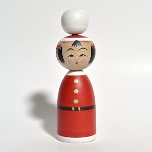 クリスマスこけし(ボンボン) 約4寸 約13.6cm 平賀輝幸 工人(作並系)#0140