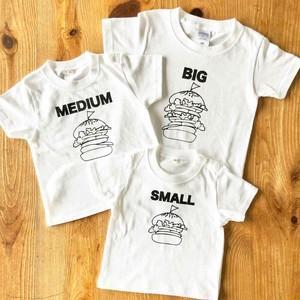 3人兄弟姉妹でおそろい /ハンバ ーガー SMALL×MEDIUM×BIG プリント/ Tシャツ3枚組ギフトセット  #出産祝い #プレゼント