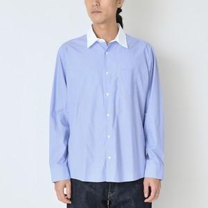 クレリックカラーシャツ ブルー x ホワイトストライプ