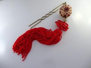 [アクセサリー]手毬の簪・赤い花