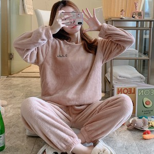 【パジャマ】2点セット長袖裏起毛もこもこシンプル上下セットパジャマ25240993
