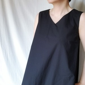 【MANON】NO SLEEVE TUCK FLARE ONE PIECE(DK.NAVY)