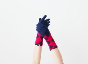 % PERCENT 手袋 (CONFORTABLE:ダークブルー・レッド)指暖・セルフヒーター・ホールガーメント・裏起毛・スマホ対応・ギフト箱付き(男女兼用フリーサイズ)