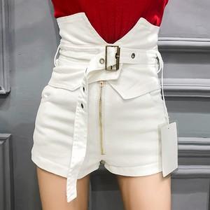 【ボトムス】ファッションハイウエストベルト付きショートパンツ29126719