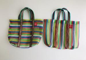 台湾 市場バッグ ナイロンバッグ サイズ マルチボーダー 小