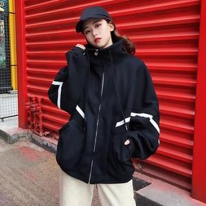 【アウター】ファッション切り替え配色スタンドネックジャケット