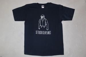 Tシャツ(紺)おじさん柄 サイズS~XL / Woman M