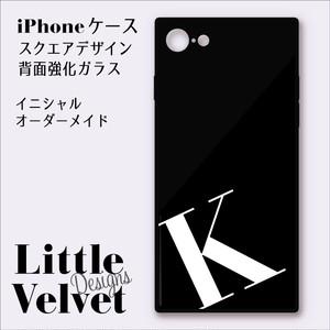 イニシャルが入れられるiPhoneケース/スクエア型強化ガラス [PC546BK] ブラック