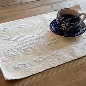 手織りのランチョンマット/ White /211a/ MEXICO メキシコ