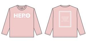 HERO ロングTシャツ(ピンク✖️ホワイト)