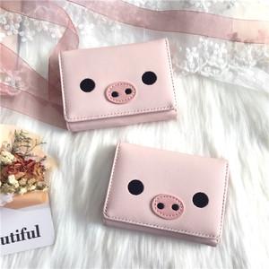 【バッグ】ins可愛いカートゥーンピンク折りたためる三つ折り財布