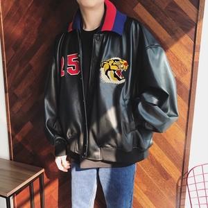 [売れ筋]レザー風タイガーデザインジャケット