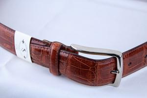 Giorgio Zoni Crocodile Leather Belt -Brown Gold ジョルジオ・ゾーニ レザーベルト