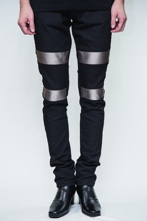 18SS Silver Leather Black Skinny Denim