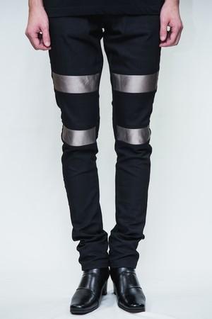 18SS Silver Leather Black Skinny Denim