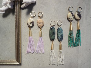 beads tassel gemstone pierce