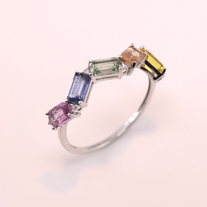 Multi Color Sapphire Ring with Diamond
