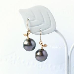 タヒチパール(黒蝶真珠) × K10YG 果実モチーフ ピアス