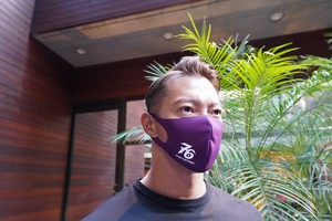 No,76 logo dry fit mask(PURPLE)