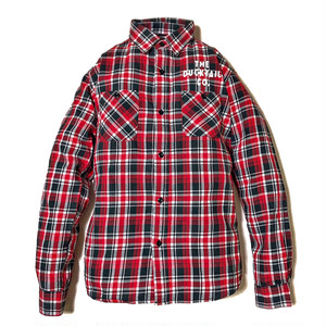 """DUCKTAIL CLOTHING LONG SLEEVE FLANNEL CHECK SHIRTS """"CRAP"""" RED ダックテイル クロージング チェック ネルシャツ"""