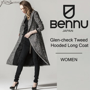 【BENNU】Glen-check Tweed Hooded Long Coat/グレンチェック