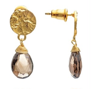 【azunilondon】Athena small stone drop earrings /SmokyQuartz