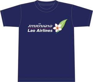 ラオス国営航空オフィシャルTシャツ【紺】