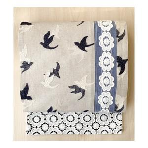 eco帯-鳥の刺繍地とレースの八寸名古屋帯-
