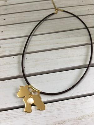 シュナウザーチョーカー(ネックレス)40cm 革ひも マザーオブパール付き