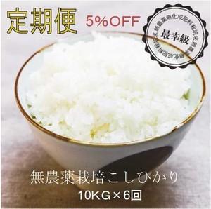 無農薬10kg×6回〈5%OFF〉定期購入〈令和2年産〉南魚沼産コシヒカリ