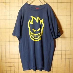 90s SPITFIRE WHEELS スピットファイヤー ロゴプリント Tシャツ ネイビー ブルー メンズM相当 アメリカ古着 yan-9