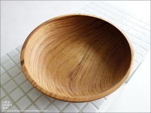 チークサラダボウル24cm 木皿 菓子鉢 丸鉢 ディッシュ 和菓子鉢 ウッドディッシュ 大皿 自然食器 丸皿 ナチュラル 無垢 銘木 直径24x高6cm