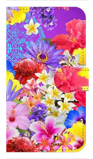 【鏡付き Sサイズ】Hawaiian Flowers Garden ハワイアンフラワーズガーデン ー Blue Violet ブルーバイオレット 手帳型スマホケース