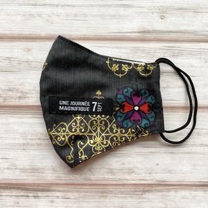 黒猫マスク・通気性が良くすぐ乾く!耳元まで覆う安心横長タイプ【黒猫×ダマスク柄・ダークグレー】