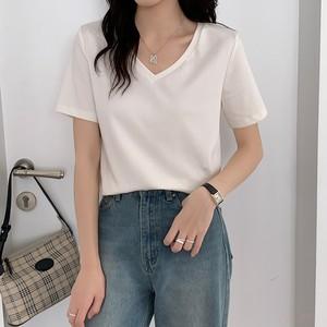 【トップス】Vネックシンプル無地半袖ショート丈Tシャツ43086845