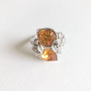 """Sarah Coventry"" yellow heart rhinestone ring #14[r-133] ヴィンテージリング"