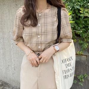 coffee check blouse [2105-19]