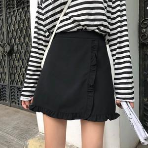 【ボトムス】夏韓国風ハイウェストフリルAラインスカート