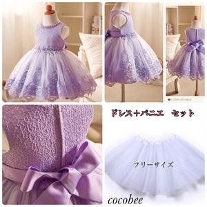 上品で 華やか大人気キッズドレス & パニエセット品 パープル色