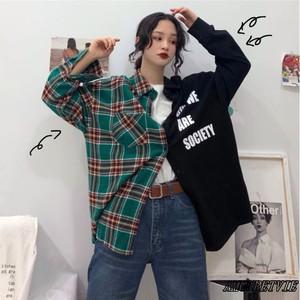 2019 冬 春 レディース 新作 シャツ チェック 柄 リバーシブル 原宿系 オルチャン 韓国ファッション 437