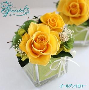 オリジナルペースと花の織りなすマリアージュ【クリスタルキューブ・イエロー】