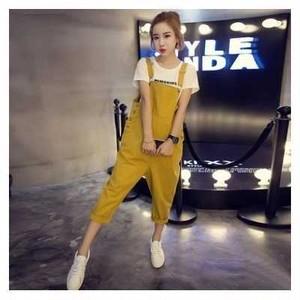 体型カバー OK☆ 人気 の かわいい サロペットパンツ イエロー M サイズ 黄色 サスペンダーズボン 大きいサイズ も オーバーオール ワンピース kpab098