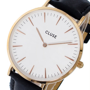クルース CLUSE ラ・ボエーム レザーベルト 38mm レディース 腕時計 CL18008 ホワイト/ブラック ホワイト