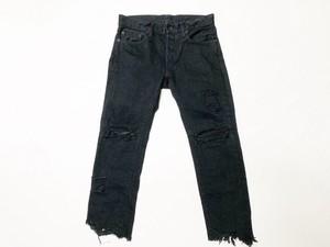 19AW  硫化染めダメージブラックデニム5P / Sulfide dyeing damage black denim pants